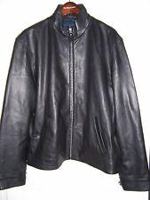 Polo Ralph Lauren MENS Leather Jacket Windbreaker Black L / XL