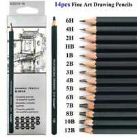 14pcs Sketch Drawing Pencil Set Sketching Art Kit in Case Carry X6R7
