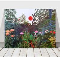 "HENRI ROUSSEAU - Leopard With Trees & Flowers - CANVAS ART PRINT POSTER -24x16"""