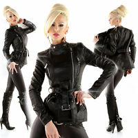 New Sexy Women Black Biker Leather Look Coat Ladies Jacket Size 6 8 10 12 S M L