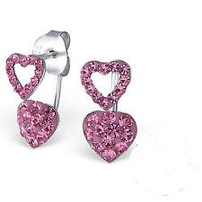 925 Sterling Double Heart Drop Pink Crystal Stud Earrings Ear Jackets