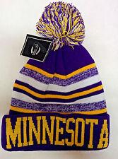 Minnesota Vikings Team Color Sideline Replica Pom Pom Knit Beanie Hat