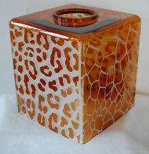 """Tissue Box Cover in Glass with Amber & White Animal Print 6""""x5 1/4"""" New Dillards"""
