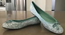 NEW Bling STACCATO Sage Green & Silver Glitter Ballet Flats with Bow Size 40