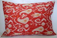 Indian Pillow Cover Kantha Work Cotton Ikat Paisley Print Sofa Decor Cushion Art