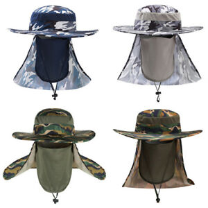 Men Wide Brim Camouflage Cap Outdoor Sun Protection Face Neck Cover Fishing Hat
