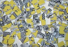 100 Black and Yellow Toile Flower Hand Cut Mosaic China Plate Tiles