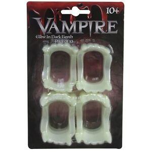 10 x Halloween Glow In The Dark Vampire Teeth Fancy Dress Trick Treat Party