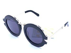 Karen Walker NEW MAZE 1501576 Black Gold Round Designer Sunglasses Black Lens