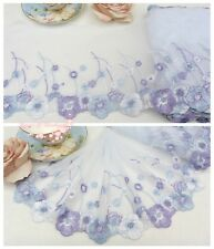 """8""""*1Y Embroidered Tulle Lace Trim~Icy Blue+White+Purple~Morning Blossom~Elegant~"""