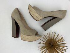 """Guess Boutique 9 'Amalia' 5"""" Platform Heels Pumps Beige Suede Espadrille ~ 7.5"""