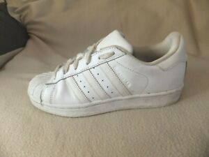 ADIDAS SUPERSTAR WHITE LEATHER TRAINERS SIZE 4.5 UK 37.5 EURO A28