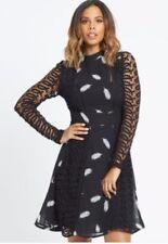 Rochelle Humes Guipure Lace Midi Dress - Feather Print - Designer - Size 14