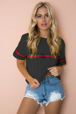 Womens Summer Striped T-shirt Crop Top Casual Crew Neck Short Sleeve Tops Blouse
