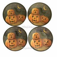 "Pumpkin Raven Halloween Melamine Tidbit Candy Appetizer Plates 6"" Set of 4 Moon"