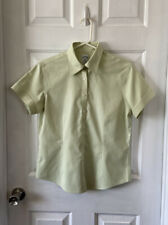 Brooks Brothers Green Button Up Blouse Non-Iron Fitted Women's Short Sleeve Sz 8
