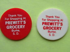 PREWITT'S GROCERY STORE, 2 PLASTIC FOOD TOKENS, BURKE, SD, Very Good