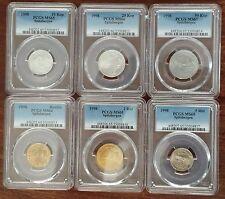 SPITZBERGEN ORIGINAL 6 DIF UNC COINS SET 0,10 - 5 ROUBLES 1998 YEAR PCGS GRADING