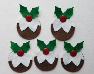 FELT & BUTTON CHRISTMAS PUDDING CARD TOPPER /EMBELLISHMENTS