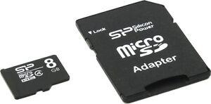 Micro SD Silicon Power 8GB + Adattatore - Memoria MicroSD Memory Card 8 GB SDHC