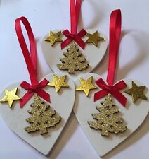 3 X Christmas Decorations Christmas Tree Shabby Chic Real Wood Heart Bows Red
