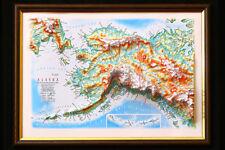 Alaska Map 3D Raised Relief Framed Map Amazing Decorative Bird's-Eye View