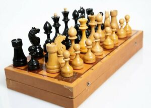 soviet chess set 1970s Vintage USSR Wooden Soviet CHESS SET Board 40 сm