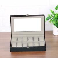 12Grid Leather Watch Bracelet Display Case Jewelry Collection Storage Holder Box