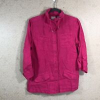 Chico's Women's Size 0 Button Down Shirt 100% Linen Drawstring Neck Pink