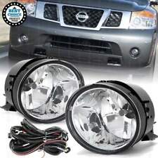 Fit Nissan 2004-2014 Titan 2005-2007 Armada Clear Lens Fog Light with Wires Bulb
