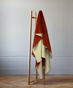 "EXTRA LARGE SOFT & WARM ALPACA WOOL BLANKET 76x91"" TERRACOTTA RED SOLID PATTERN"