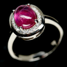 NATURAL 7 X 9mm. PINK RUBY & WHITE CZ STERLING 925 SILVER RING SZ 8