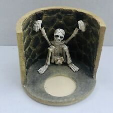 New Russ Berrie Skelton Votive Halloween Lites Handpainted Tea Light