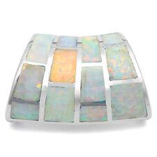 White Australian Opal Slide .925 Sterling Silver Pendant