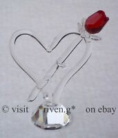 SINGLE STEM RED ROSE@AUSTRIAN CRYSTAL@Glass VALENTINES HEART@CUT Crystal Gift