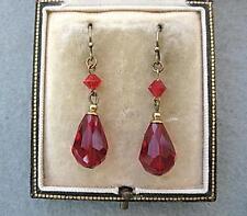 Superb Art Deco Inspired Rose Red Crystal Tear Drop Earrings