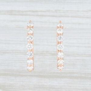 0.76ctw Diamond Hoop Earrings 14k Rose Gold Hinged Snap Top Hoops