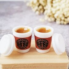 2x Mini Hot Chocolate Drink Starbucks Cup Dollhouse Miniatures Beverage Supply
