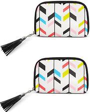Macy's Chevron Print Cellphone Case Makeup Bag Travel Pouch Brush Holder set x 2