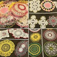 Vintage Mixed Lot of 21 Crochet Lace Assorted Doilies Doily