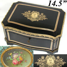 """LG Antique French 14.5"""" Jewelry or Sewing Chest, Boulle, Crown Monogram, Tahan?"""