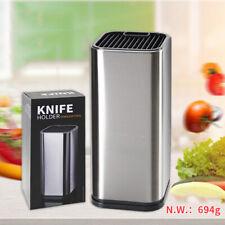 Stainless Steel Knife Holder Block Scissor Slot Storage Rack Kitchen Organizer