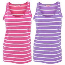 Striped Cotton Sleeveless Basic Women's T-Shirts