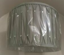 "12"" / 30cm GREY PINCH PLEAT WITH DIAMANTES LORNA CYLINDER LAMPSHADE"