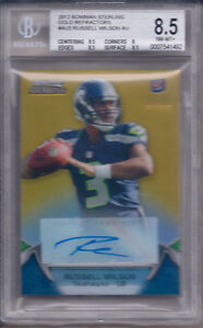 RUSSELL WILSON 2012 BOWMAN STERLING AUTOGRAPHED GOLD REF 17/25 #5 BGS 8.5/AU 10