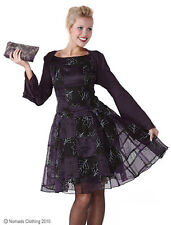 Ladies 50's Style Purple Organza Deluxe Halloween Witch Party Dress 8-10 NEW