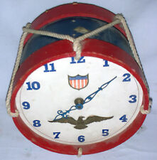TOY DRUM CLOCK VINTAGE 1950s NEEDS-NEW-PLUG TELECHRON PATRIOT NOVELTY CHARMING!