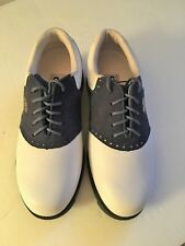 New Grip Ladies size 6 golf shoes White w/ blue suede oxford saddle loafers