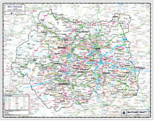 WEST YORKSHIRE COUNTY WALL MAP - LAMINATED EDITION - WEST YORKSHIRE MAP.