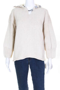 SKIF Womens Comet Collared Henley Sweater Ivory Cotton One Size LL19LL